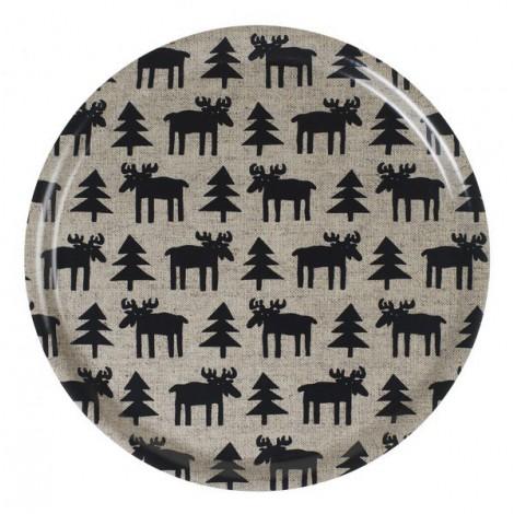 Dřevěný kulatý tác Moose