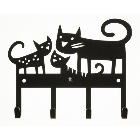 Kovový věšák na zeď  Cats
