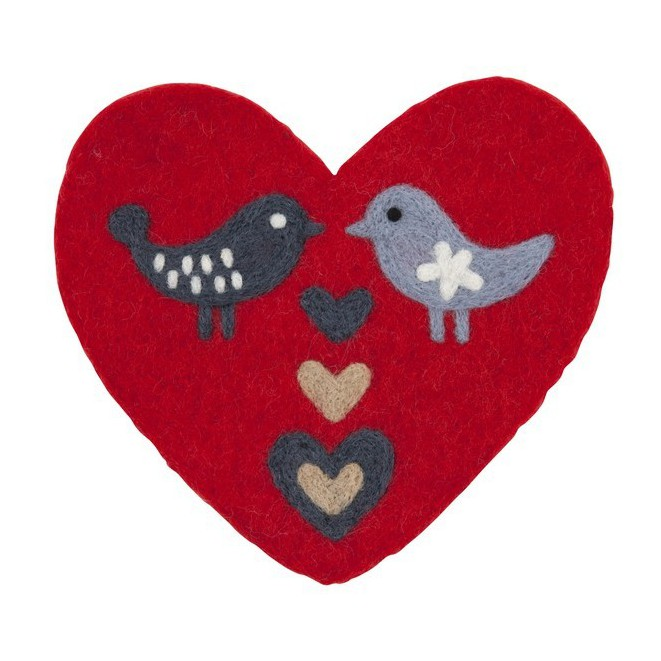 Felted pot mat Love birds