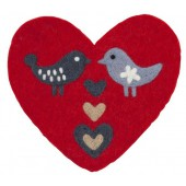 Felted pot mat Love birds