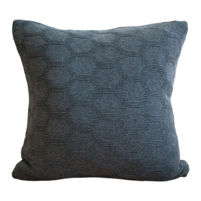 Knitted cushion Hedris dark grey