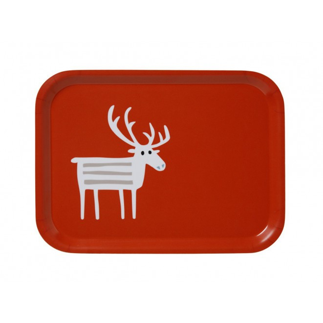 Small tray Reindeer red