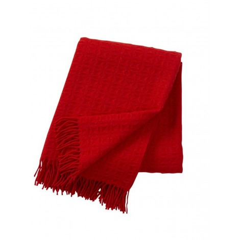 Wool throw Twist red