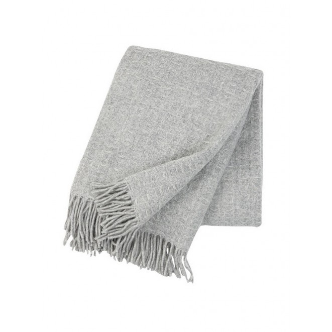 Wool throw Twist light grey