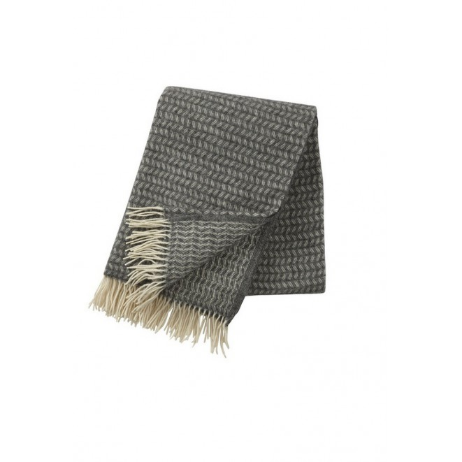 Wool throw Leaf grey