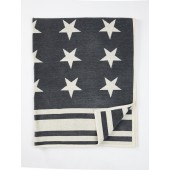 Cotton chenille blanket Stars dark grey