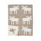 Cotton chenille blanket Moose beige