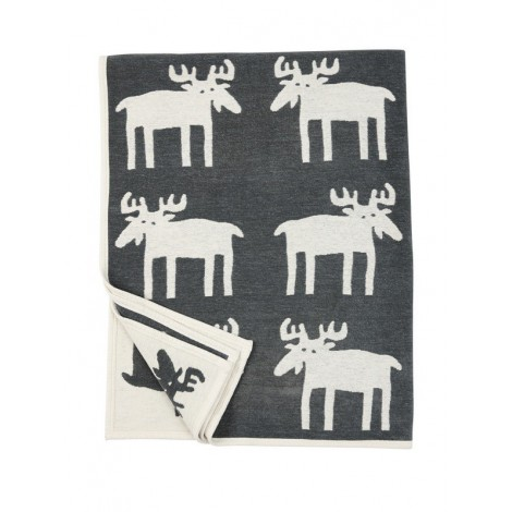 Bavlněná deka chenille Moose dark grey