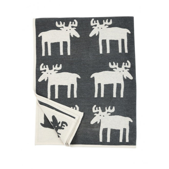 Cotton chenille blanket Moose dark grey