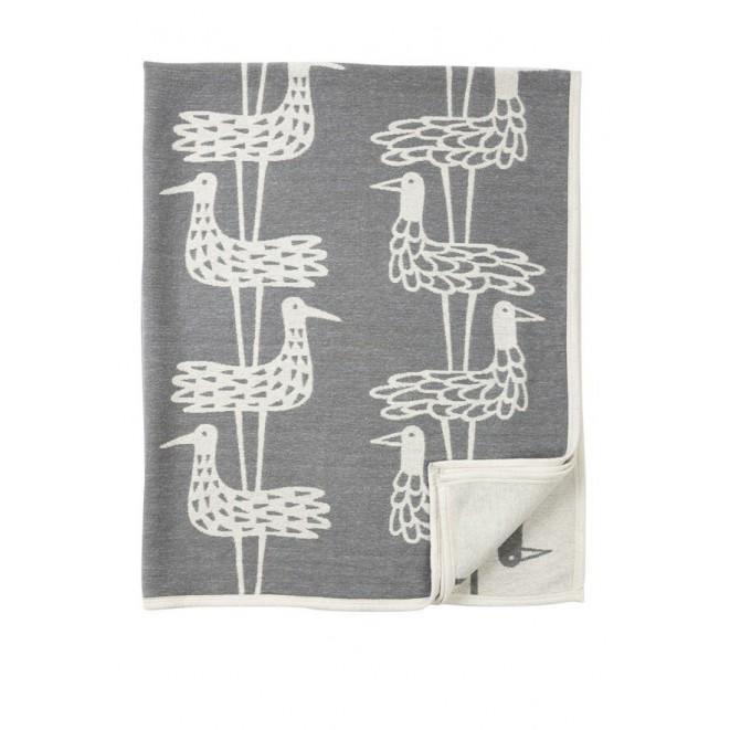 Cotton chenille blanket Shore birds grey