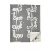 Cotton chenille blanket Shore birds grey