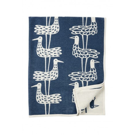 Cotton chenille blanket Shore birds blue
