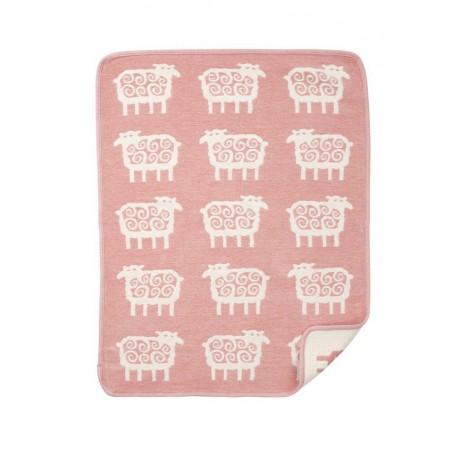 Bavlněná dětská deka chenille Sheep pink