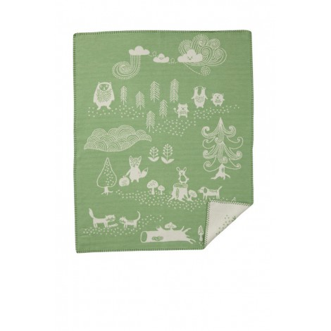 Cotton baby blanket Little Bear green
