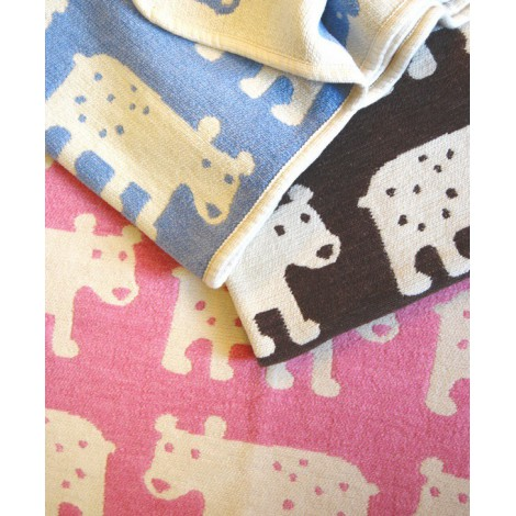 Cotton baby blanket chenille Bear pink