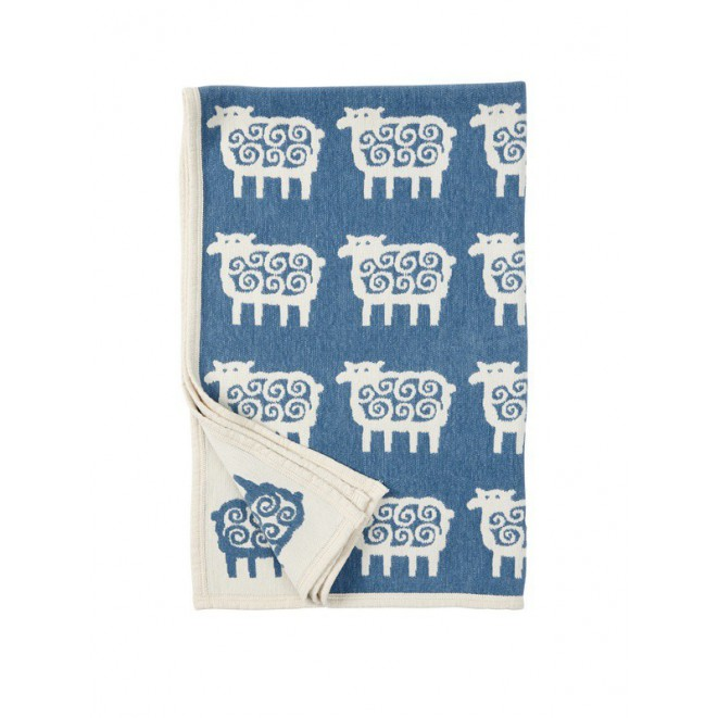 Bavlněná dětská deka chenille Sheep blue 90x140