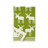 Bavlněná dětská deka chenille Moose green