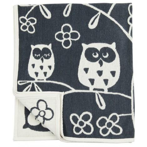 Cotton baby blanket chenille Tree owl grey