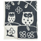 Cotton baby blanket chenille Tree owl grey