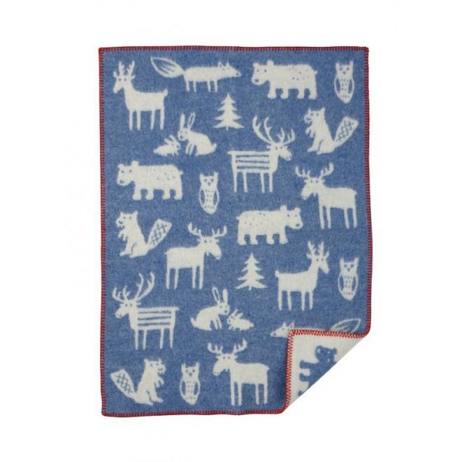 Vlněná dětská deka Forest blue