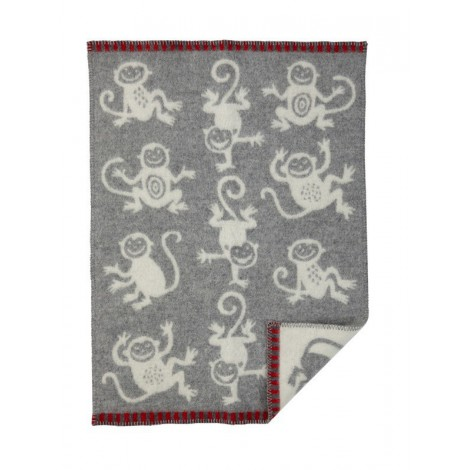 Wool Baby blanket Monkey grey
