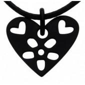 Přívěsek Flower Heart black