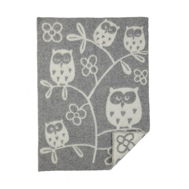 Vlněná dětská deka Tree Owl grey