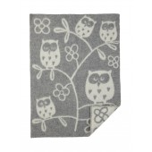 Wool Baby blanket Tree Owl grey