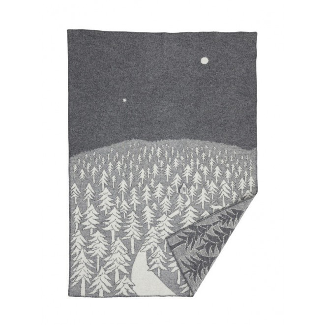 Wool blanket House in the forest grey