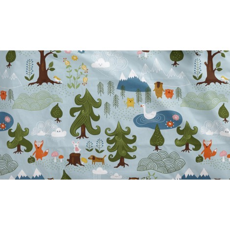 Cotton fabric Little Bear blue