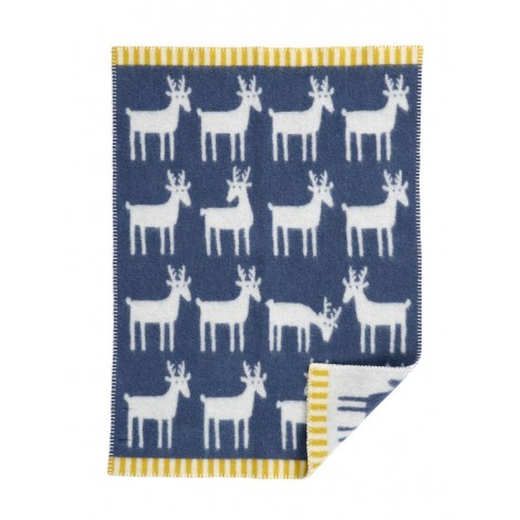 Wool Baby blanket Deer smokey blue