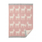 Wool Baby blanket Deer pale pink