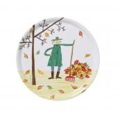 Kulatý servírovací tác Autumn leaf
