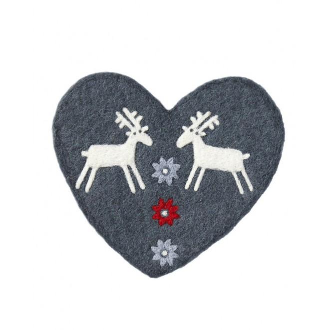 Felted pot mat Reindeer