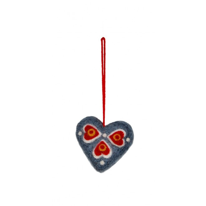 Felted christmas ornament Blue Heart mix