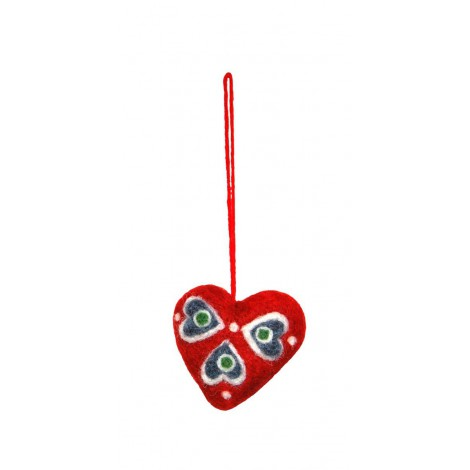 Felted christmas ornament Red Heart mix