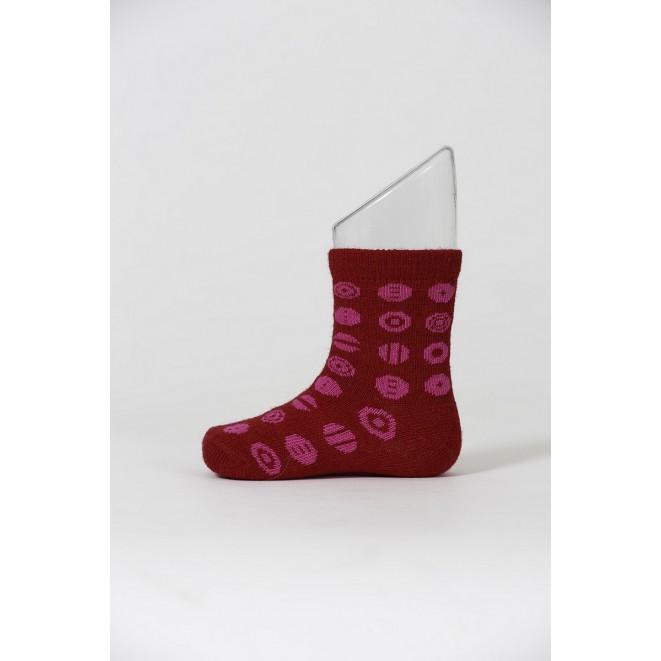 Dětské merino ponožky Candy red