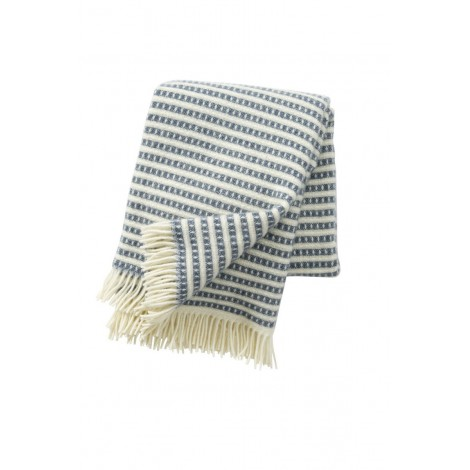 Wool throw Olle smokey blue