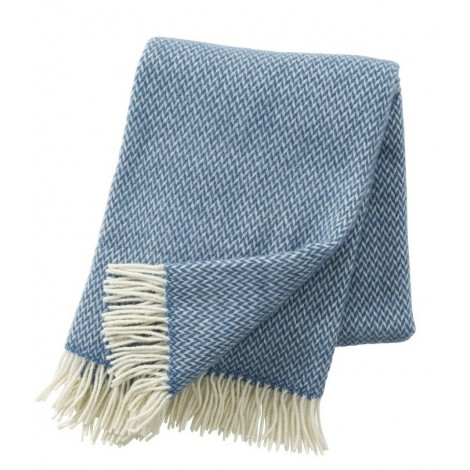 Wool throw Pulse china blue
