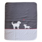 Cotton blanket  Cat & Dog grey