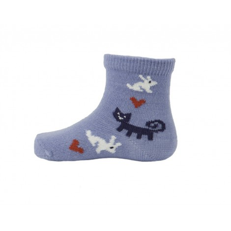 Kids merino socks Rabbit blue