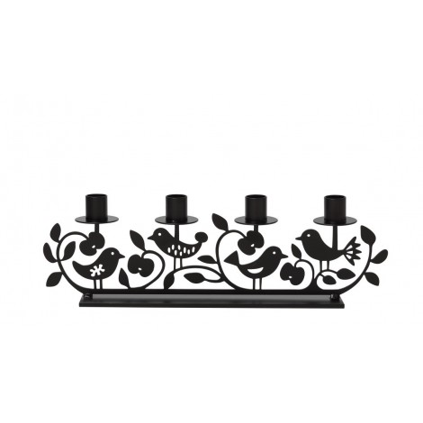 Advent candle holder Apple & Bird black