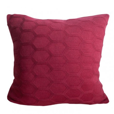 Knitted cushion Hedris dark red