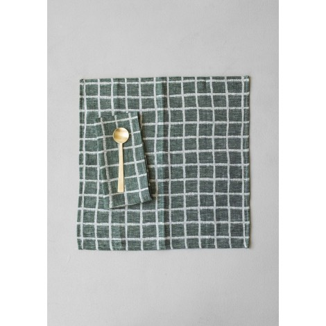Cotton napkin RUTIG green 2-pack