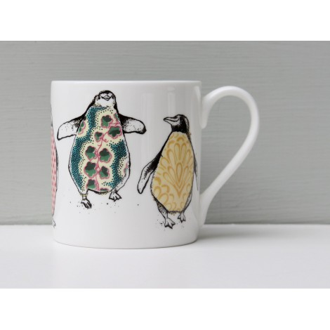 Porcelain cup Dancing penguins