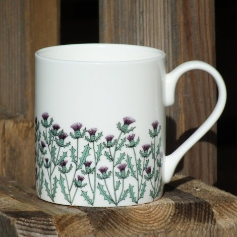 Porcelain mug Thistles