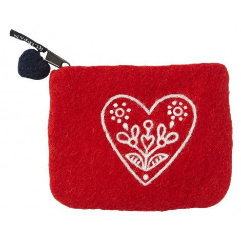 Purse Heart & Flower red