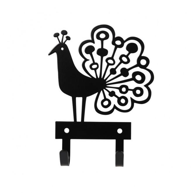 Kovový věšáček Peacock black