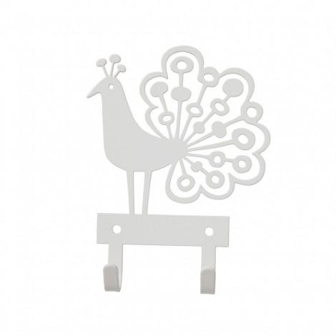 Kovový věšáček Peacock white
