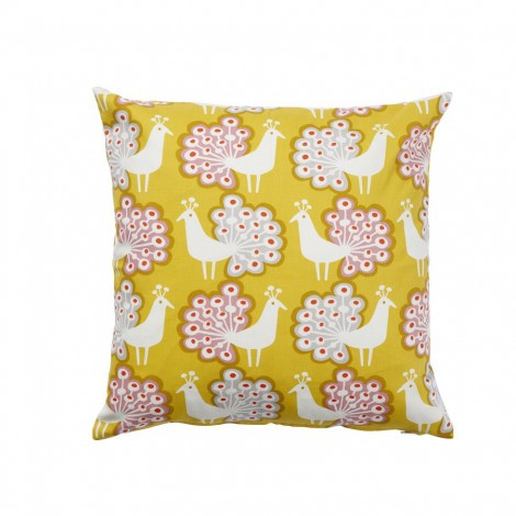 Cushion cover Peacock yellow